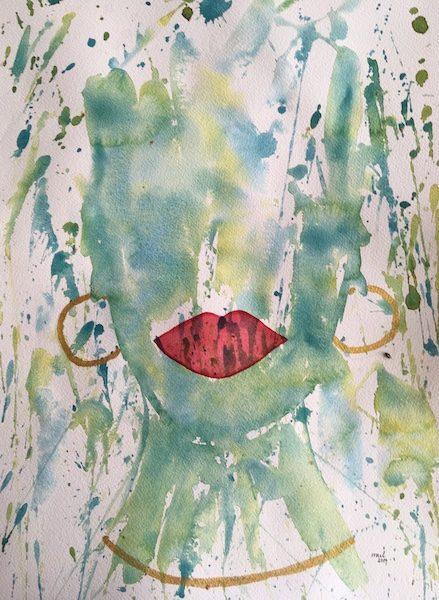 Marias galleri, akvarell grönt ansikte