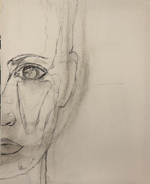 Marias-galleri-olja skiss ansikte